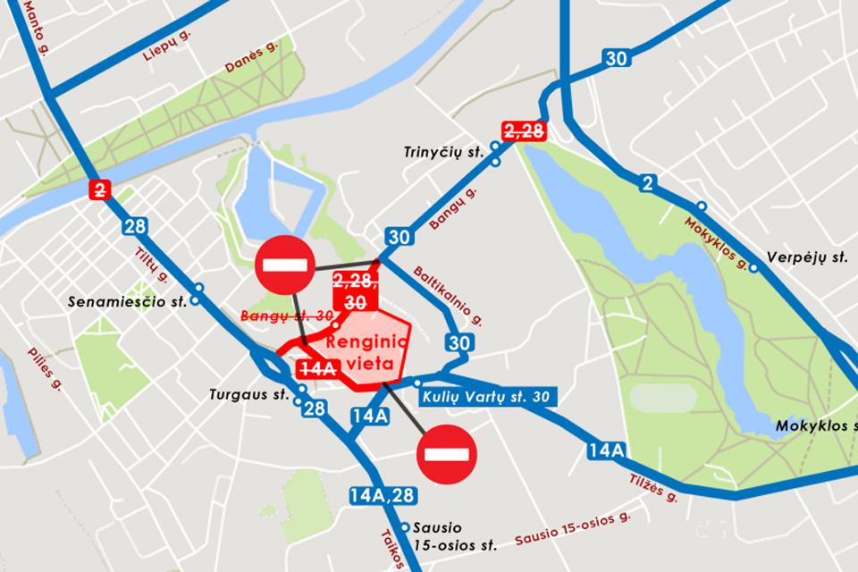 Keturių maršrutų autobusai laikinai keičia trasas