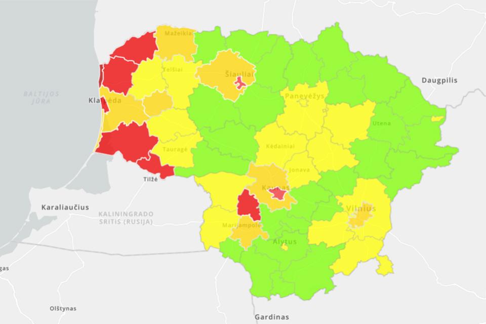 COVID-19: Vakarų Lietuva toliau raudonuoja