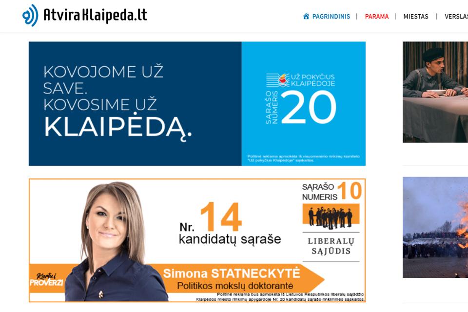 Kiek kandidatai sumokėjo Klaipėdos žiniasklaidai?