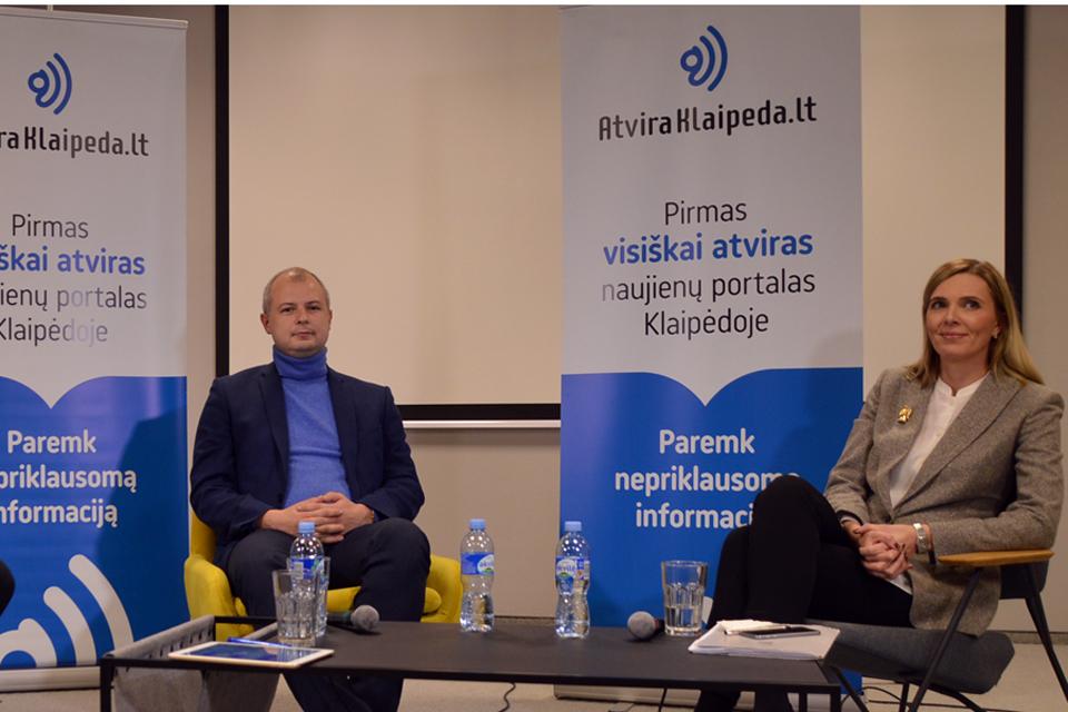 """""""Atviros Klaipėdos"""" debatai: Simonas Gentvilas ir Agnė Bilotaitė"""