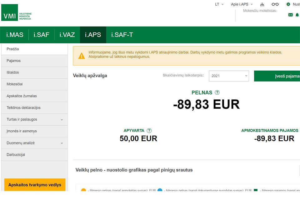 Mokesčių inspekcija atnaujino virtualų buhalterį i.APS