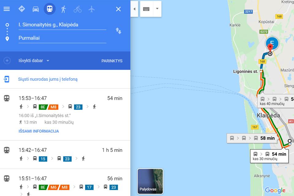 """Klaipėdos viešasis transportas atvažiavo į """"Google Maps"""""""