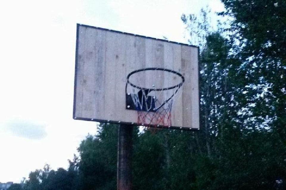 Išrovė krepšinio stovą