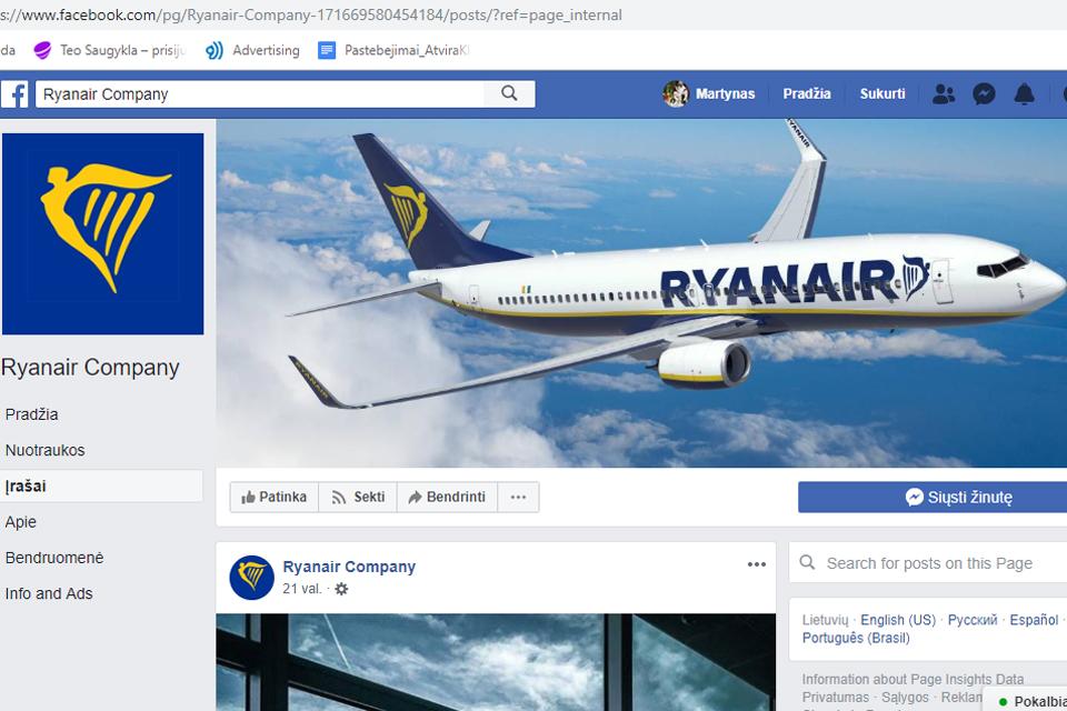 """Sukčiai naudojasi """"Ryanair"""" vardu"""