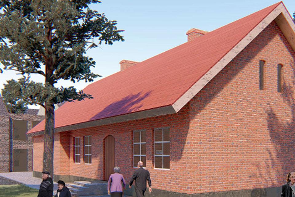 Senoji mokykla virs senelių namais