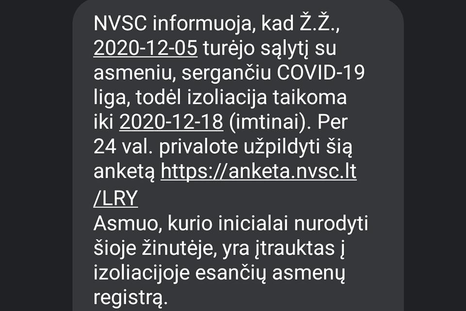 NVSC perspėja apie melagingas SMS